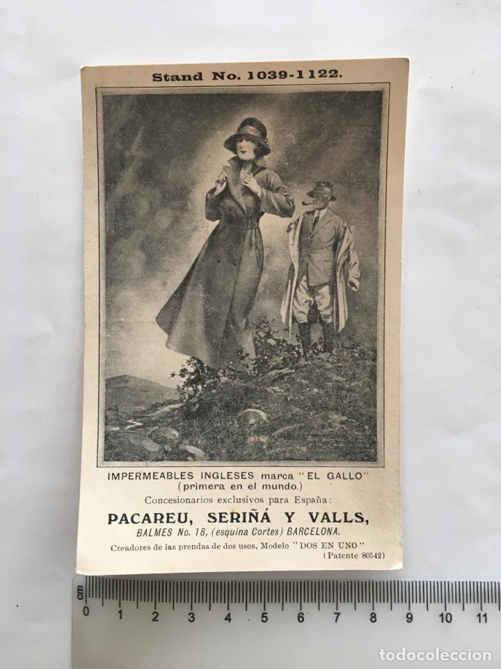 POSTAL PUBLICITARIA. IMPERMEABLES INGLESES MARCA EL GALLO. CONCESIÓN. PACAREU, SERIÑA Y VALLS. BARCE (Postales - Postales Temáticas - Publicitarias)