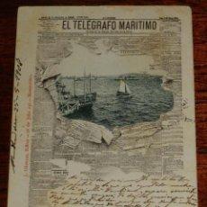 Postales: POSTAL DE PUBLICIDAD DE EL PERIODICO EL TELEGRAFO MARITIMO, RECUERDO DE MONTEVIDEO, ED. J. OLIVERAS,. Lote 196738967