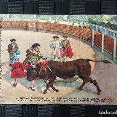 Postales: POSTAL PUBLICIDAD FARMACIA VINO TÓNICO WINTERSMITH BRAVO MATADOR (TOROS TORERO). Lote 197453117