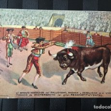 Postales: POSTAL PUBLICIDAD FARMACIA VINO TÓNICO WINTERSMITH BRAVO MATADOR (TOROS TORERO). Lote 197453883