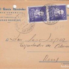 Postales: TARJETA POSTAL COMERCIAL DE MANUEL GARCIA HERNANDEZ - AGENTE COMERCIAL EN CIUDAD RODRIGO. Lote 198539935
