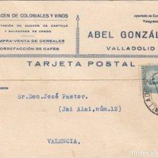 Postales: TARJETA POSTAL COMERCIAL DE ALMACEN DE COLONIALES ABEL GONZALEZ EN VALLADOLID . Lote 198545880