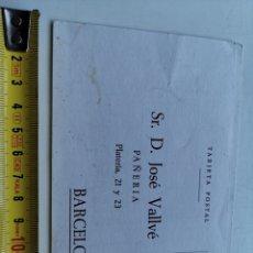 Postales: TARJETA POSTAL DE PEDIDOS. PAÑERÍA JOSÉ VALLVÉ. C. PLATERÍA 21-23 BARCELONA. Lote 198582377