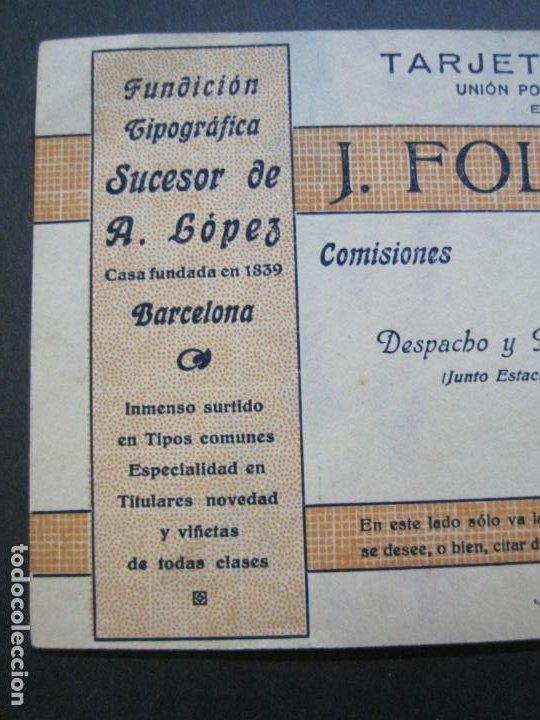 Postales: J.FOLQUE-BARCELONA-POSTAL PUBLICIDAD-FUNDICION TIPOGRAFICA-VER FOTOS-(69.188) - Foto 3 - 202348128