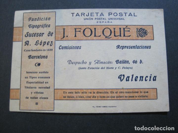 J.FOLQUE-BARCELONA-POSTAL PUBLICIDAD-FUNDICION TIPOGRAFICA-VER FOTOS-(69.188) (Postales - Postales Temáticas - Publicitarias)
