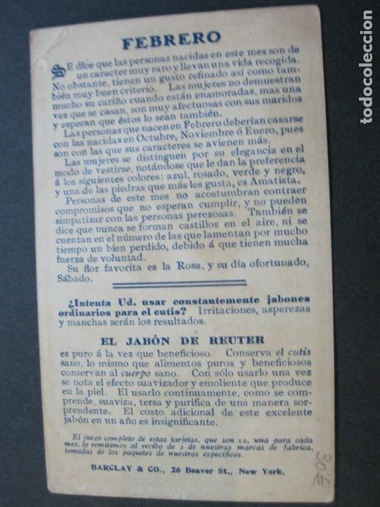 Postales: JABON DE REUTER-AMATISTA-TARJETA PUBLICIDAD ANTIGUA-VER FOTOS-(69.193) - Foto 5 - 202351170