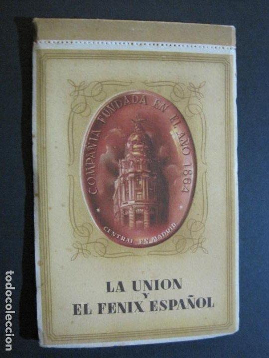 PUBLICIDAD LA UNION Y EL FENIX ESPAÑOL-BLOC DE 11 POSTALES-FOTOS DE LAS SEDES-VER FOTOS-(V-20.075) (Postales - Postales Temáticas - Publicitarias)