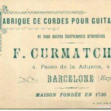 Postales: BARCELONA-FÁBRICA DE CUERDAS ARMONICAS PARA GUITARRA- F. CURMATCHAS- MODERNISTA-RARA. Lote 203810293