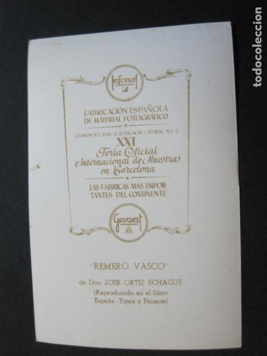 Postales: REMERO VASCO-TARJETA PUBLICIDAD CARTON GARRIGA K.3-VER FOTOS-(70.125) - Foto 3 - 204692000