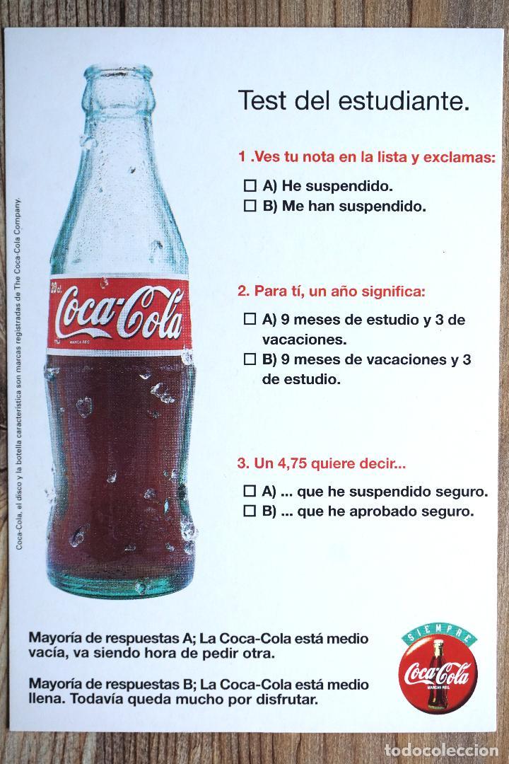 POSTAL COCA COLA. TEST ESTUDIANTE. BEBIDA. 1999 (Postales - Postales Temáticas - Publicitarias)
