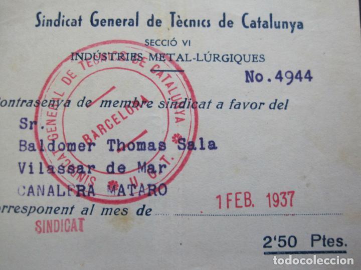 Postales: GUERRA CIVIL-SINDICAT GENERAL DE TECNICS DE CATALUNYA-U.G.T.-CARNET CONTRASENYA-VER FOTOS-(71.059) - Foto 2 - 206924866