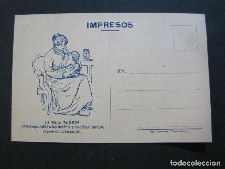 FARMACIA-MALTA SIGMA-BLANDO Y EN POLVO-BARCELONA-POSTAL PUBLICIDAD ANTIGUA-(71.168) (Postales - Postales Temáticas - Publicitarias)