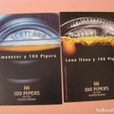 Postales: 2 POSTALS PUBLICIDAD. WHISKY 100 PIPERS. POSTALFREE. Lote 207275202