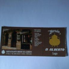 Postales: LUGO MESON DE ALBERTO COCINA GALLEGA 1986. Lote 210216708