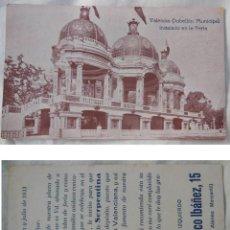 Postales: VALENCIA PABELLON MUNICIPAL (FERIA) PAPELERIA IZQUIERDO. 1933. Lote 211489172