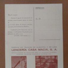 Postales: TARJETA POSTAL DIPTICO PUBLICIDAD LENCERIA CASA MACIA BARCELONA FABRICA EN LAS FRANQUESAS DEL VALLES. Lote 212463332