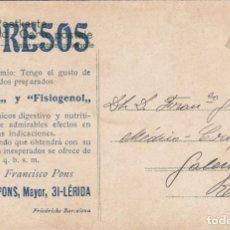 Postales: POSTAL PUBLICITARIA FARMACIA FRANCISCO PONS EN LÉRIDA - LLEIDA - - PEPTONAL Y FISIOGENOL. Lote 213900331