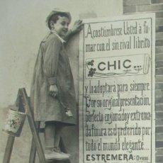 Postales: POSTAL PUBLICITARIA DE PAPEL DE FUMAR CHIC. ESTREMERA, OVIEDO. CIRCULADA EN 1909. MUY RARA.. Lote 216751698