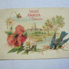 Postales: CHOCOLATE AMATLLER-BARCELONA-CROMO-POSTAL PUBLICIDAD-VER REVERSO-(73.960). Lote 217739193