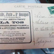 Postales: ANTIGUA POSTAL PUBLICIDAD FARMACIA JARABE BOUSQUET A DR. MASSOTI CARTAGENA MURCIA. Lote 218208396