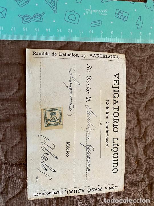 Postales: POSTAL PUBLICITARIA DE VEJIGATORIO LIQUIDO MASÓ. DTOR. MASO ARUMÍ (FARMACEUTICO). CIRCULADA - Foto 3 - 219599193