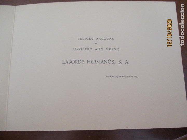 Postales: Felicitacion navideña de Laborde Hermanos. Andoain 1957. Ver fotos adicionales. (Navidad) - Foto 3 - 220885420