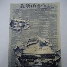 Postales: TARJETA POSTAL PUBLICITARIA. LA VOZ DE GALICIA. PRIMERA PAGINA DE DIARIO. LINO PEREZ LA CORUÑA Nº 3. Lote 221393603
