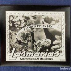 Postales: POSTALITA PUBLICITARIA CINE / FOTO FIJA: FLORES Y PLANTAS LAS MARIAS, MERCADILLO DELICIAS - MATAS. Lote 221486697