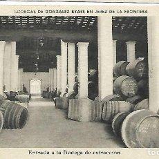 Postales: JEREZ DE LA FRONTERA. ANTIGUA POSTAL DE BODEGAS GONZALEZ BYASS. ENTRADA A LA BODEGA DE EXTRACCION. Lote 221953891