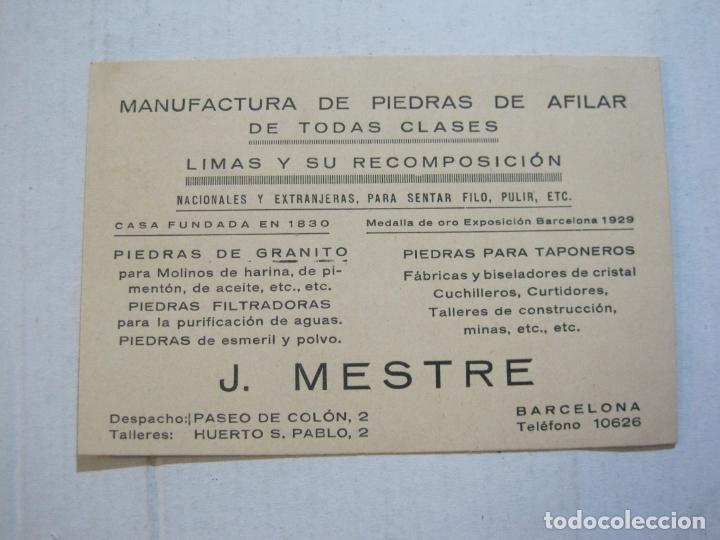 Postales: MANUFACTURA PIEDRAS DE AFILAR J.MESTRE-BARCELONA-PUBLICIDAD ANTIGUA-VER FOTOS-(75.288) - Foto 2 - 222703487