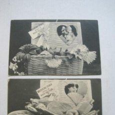 Postales: PUBLICIDAD MECHERO FENIX-BARCELONA-CALLE ARIBAU-LOTE DE 2 POSTALES ANTIGUAS-VER FOTOS-(75.332). Lote 222835440