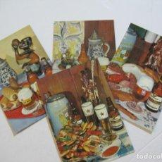 Postales: CERVEZAS DAMM-LOTE DE 4 POSTALES DE PLATOS TIPICOS-PUBLICIDAD-VER FOTOS-(75.431). Lote 222837922