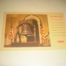Postales: TWA , TRANS WORLD AIRLINES. THE LIBERTY BELL USA. Lote 223886193