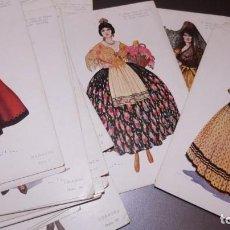 Postales: 39 ANTIGUAS TARJETAS TRAJES PROVINCIALES.PUBLICITARIAS PERFUMERIA GAL.HENO DE PRAVIA. NO CIRCULADAS-. Lote 225081858