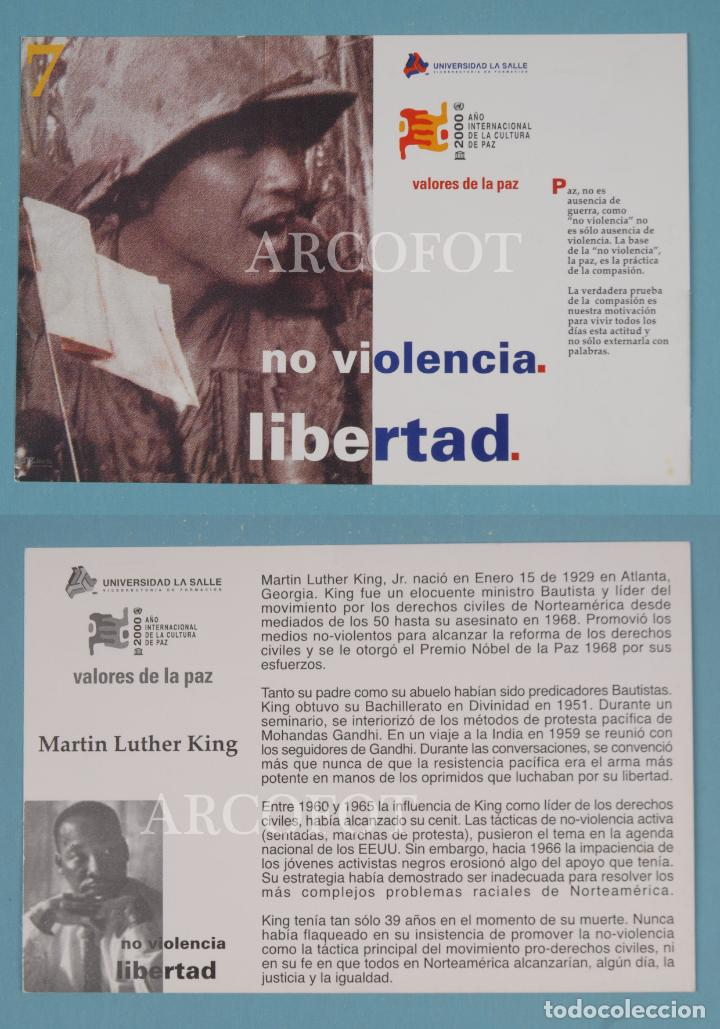 TARJETA - 7 - UNIVERSIDAD LA SALLE - VALORES DE LA PAZ - NO VIOLENCIA - LIBERTAD - M. LUTHER KING (Postales - Postales Temáticas - Publicitarias)