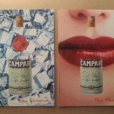 Postales: LOTE 2 TARJETA POSTAL PUBLICIDAD BEBIDAS ALCOHOL CAMPARI SIN CIRCULAR. Lote 226414032