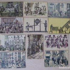 Postales: LOTE DE 11 POSTALES GRABADOS SERVICIO NACIONAL DE LOTERÍAS - SERIE B, INCOMPLETA (NÚMEROS 2 A 12). Lote 227874568