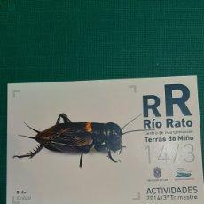 Postales: RIO RATO LUGO GRILLO FAUNA POSTAL TERRAS MIÑO ACTIVIDADES 2014 LIBRERIA O ALMACÉN DO COLISEVM. Lote 228130560