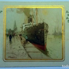 Postales: 3 VINTAGE ADVERTISING POSTCARDS (WITH GOLDEN STAMPED) OF SHIPS RED STAR LINE - ANTWERP - 1920.. Lote 232456637