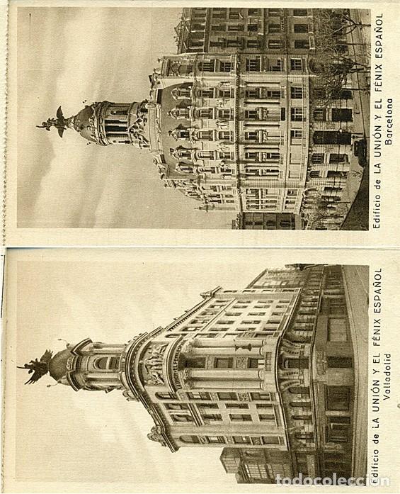 Postales: Block de 10 postales La Unión y el Fenix español. Seguros: Madrid, Bilbao, Valencia, Sevilla, etc. - Foto 3 - 232985026