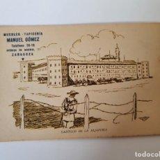 Postales: TARJETA POSTAL CASTILLO DE LA ALJAFERÍA, ZARAGOZA, PUBLICIDAD MUEBLES MANUEL GÓMEZ. Lote 233372415