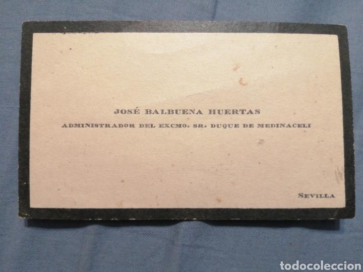 TARJETA JOSÉ BALBUENA HUERTAS ADMINISTRADOR DEL SEÑOR DUQUE DE MEDINACELI (Postales - Postales Temáticas - Publicitarias)