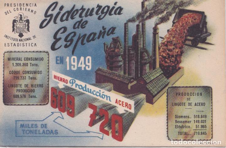 P.G.- I.N.E. SIDERURGIA DE ESPAÑA AÑO 1949 (Postales - Postales Temáticas - Publicitarias)