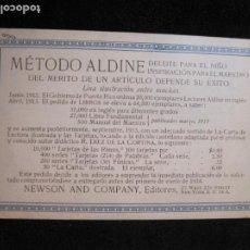 Postales: METODO ALDINE-PUBLICIDAD-POSTAL ANTIGUA-VER FOTOS-(77.779). Lote 244426985