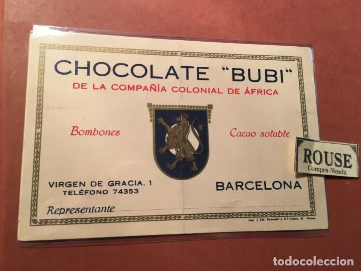 PUBLICIDAD TARJETA - CHOCOLATE ''BUBI''DE LA COMPAÑIA COLONIAL DE ÁFRICA BARCELONA VIRGEN DE GRACIA (Postales - Postales Temáticas - Publicitarias)