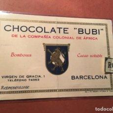 Postales: PUBLICIDAD TARJETA - CHOCOLATE ''BUBI''DE LA COMPAÑIA COLONIAL DE ÁFRICA BARCELONA VIRGEN DE GRACIA. Lote 245390310