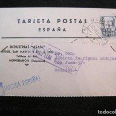 Postales: MONDRAGON-INDUSTRIAS ASAM-SELLO CENSURA MILITAR MONDRAGON-PUBLICIDAD-POSTAL ANTIGUA-(78.080). Lote 245972610