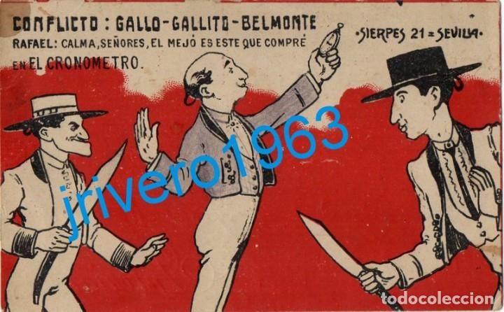 SEVILLA, POSTAL PUBLICITARIA EL CRONOMETRO, CONFLICTO: GALLO, GALLITO Y BELMONTE, RARISIMA (Postales - Postales Temáticas - Publicitarias)