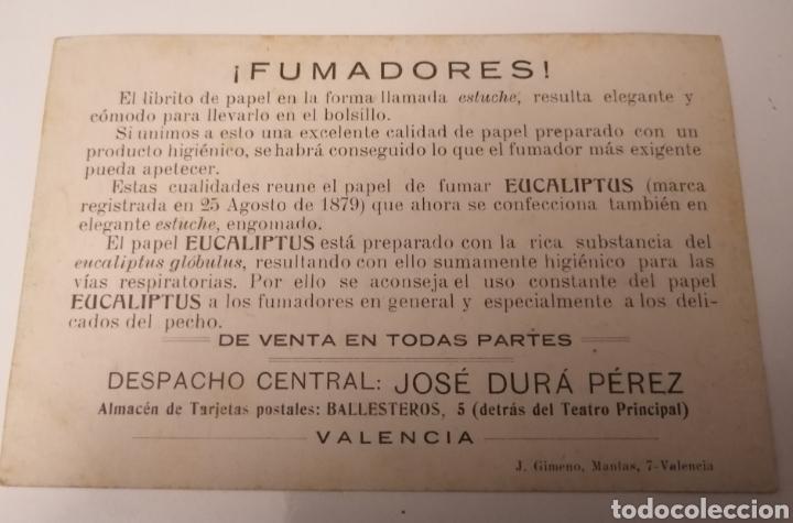 Postales: VALENCIA. POSTAL PUBLICITARIA. EUCALIPTUS. JOSÉ DURÁ PÉREZ. - Foto 2 - 246179510