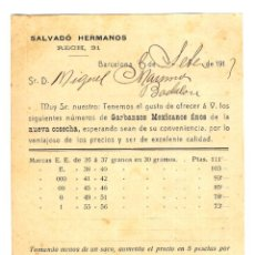 Postales: TARJETA POSTAL COMERCIAL SALVADÓ HERMANOS - 1913 - INTERESANTE TARIFA GARBANZOS - INÉDITA. Lote 249287065